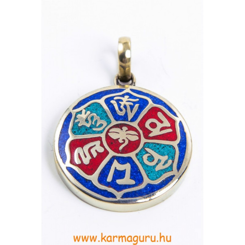 3 köves berakásos medál Om Mani mantrával, középen Buddha szemmel