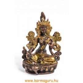 Zöld Tara szobor réz, arany és bronz - 9 cm
