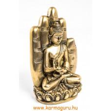 Áldó Buddha kézben szobor, réz, matt sárga