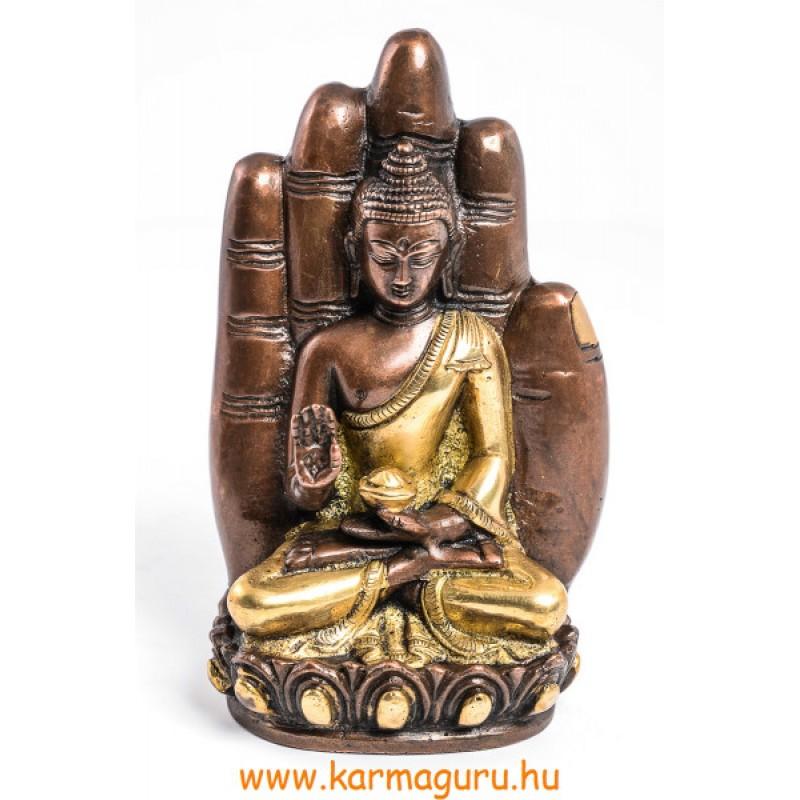 Áldó Buddha kézben szobor, réz, arany és bronz