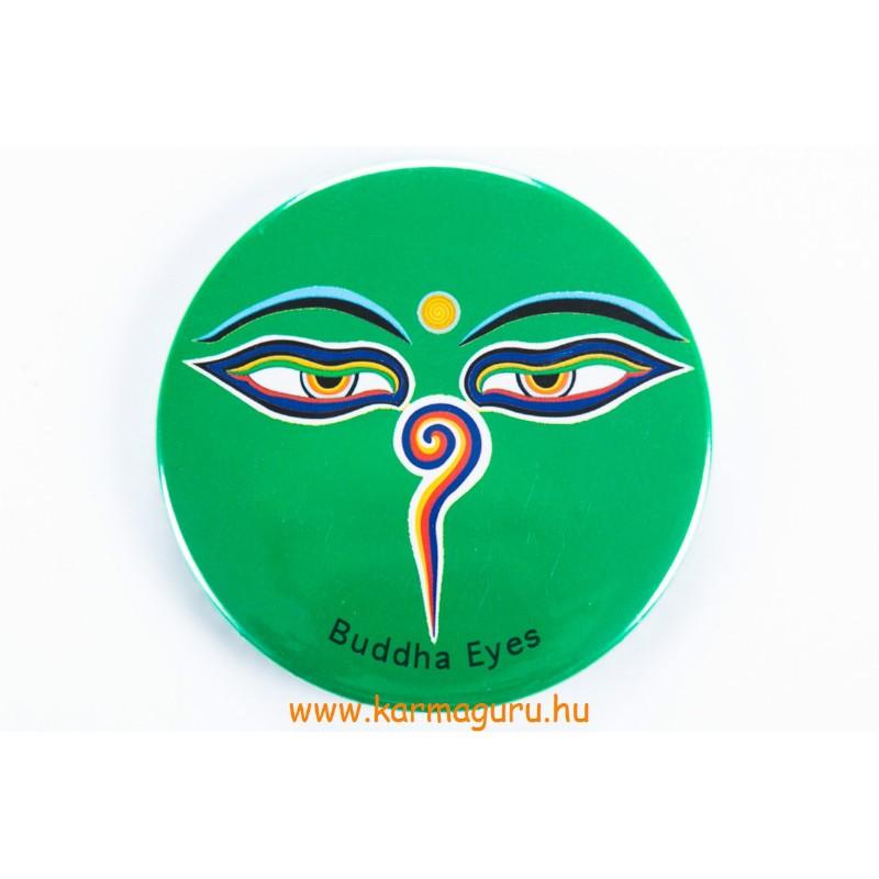 Buddha szemes vastag mágnes, zöld