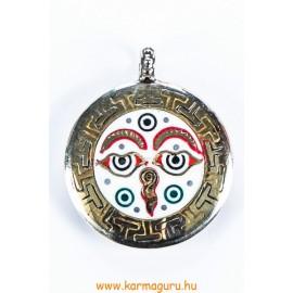 Buddha szem és dupla dorje medál, két oldalas, nagyobb méretű