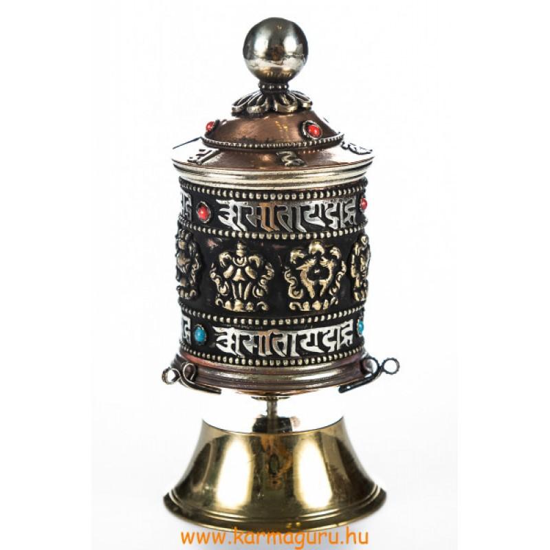 Asztali réz imamalom a tibeti 8 szerencsejellel és mantrákkal