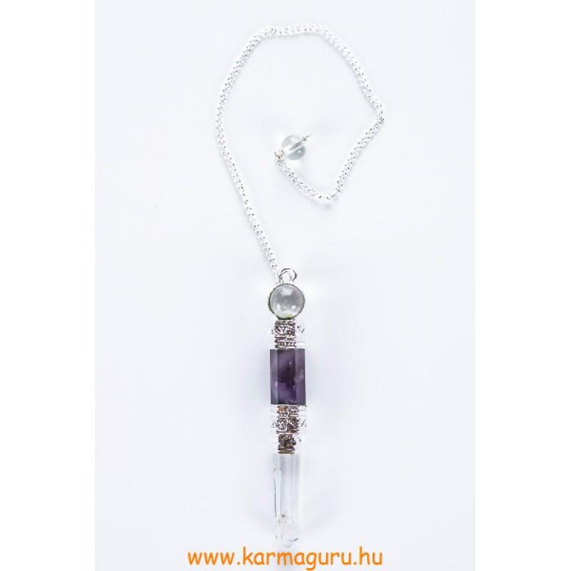 Ametiszt-hegyikristály kristály inga