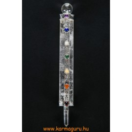 Hegyikristály-hegyikristály energetizáló rúd, 7 csakra kővel