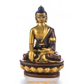 Shakyamuni Buddha, kézzel festett, rezin szobor