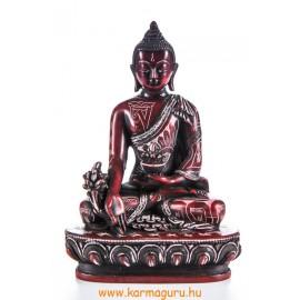 Gyógyító Buddha rezin szobor, kézzel vésett, vörös színű