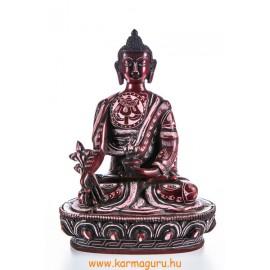 Gyógyító Buddha rezin szobor, vésett, vörös színű