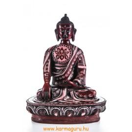 Shakyamuni Buddha, vésett, vörös rezin szobor