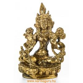 Zöld Tara réz szobor, matt sárga - 9 cm