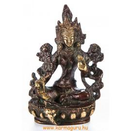 Zöld Tara réz szobor, arany-vörös - 9 cm