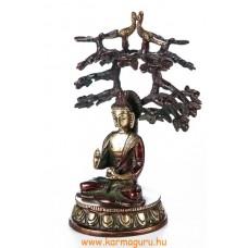 Áldó Buddha bódhi fa alatt réz szobor, arany-vörös - 18 cm