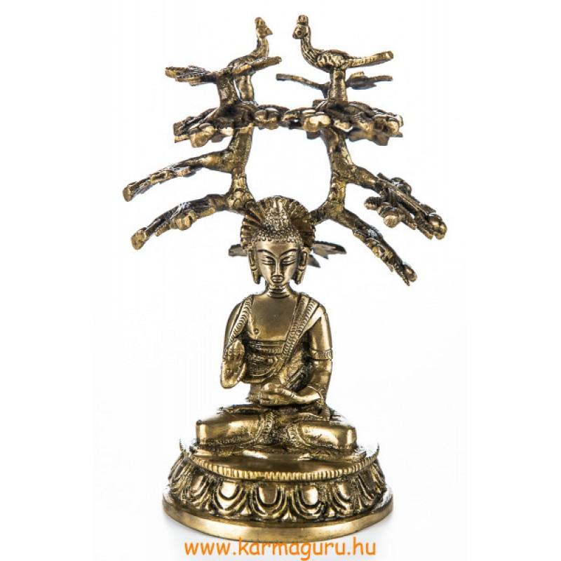 Áldó Buddha bódhi fa alatt réz szobor, matt sárga - 18 cm