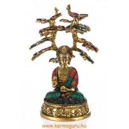 Áldó Buddha bódhi fa alatt réz szobor, kővel berakott - 18 cm