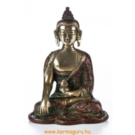 Shakyamuni Buddha réz szobor, arany-vörös - 14cm