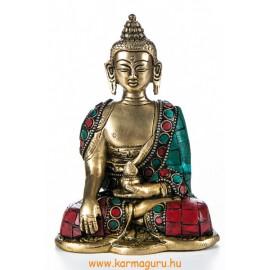 Shakyamuni Buddha réz szobor, kővel berakott - 14cm