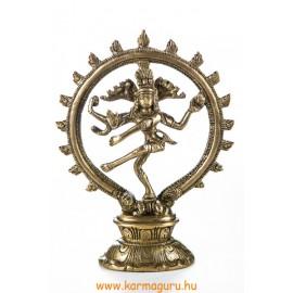 Táncoló Shiva réz szobor, matt sárga - 19 cm