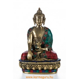 Shakyamuni Buddha réz szobor, kővel berakott - 21 cm