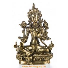 Zöld Tara réz szobor, matt sárga - 21 cm