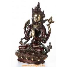 4 karú Csenrézi réz szobor, arany-vörös - 21cm