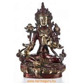 Zöld Tara réz szobor, arany-vörös - 21 cm
