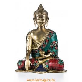 Shakyamuni Buddha réz szobor, kővel berakott - 20 cm