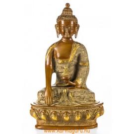 Shakyamuni Buddha réz szobor, nepáli színű - 26 cm