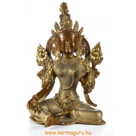 Zöld Tara réz szobor, nepáli színű - 26,5 cm