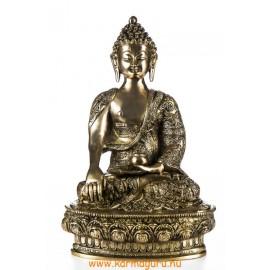 Shakyamuni Buddha réz szobor, matt sárga - 30cm