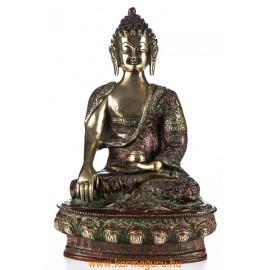 Shakyamuni Buddha réz szobor, arany-vörös - 30cm