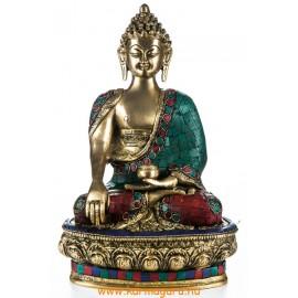 Shakyamuni Buddha réz szobor, kővel berakott - 30 cm