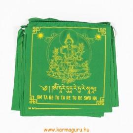 Zöld Tara imazászló a mantrájával
