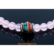 Rózsakvarc csukló mala türkiz és korall osztóval, állítható - 21 szemes- - a gyengéd nőiesség és érzékenység köve