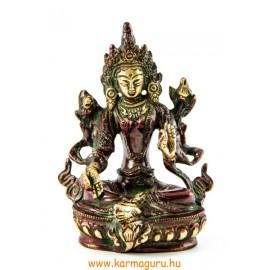 Zöld Tara szobor réz, arany-vörös - 14 cm