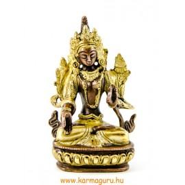 Fehér Tara réz szobor, arany-bronz - 14cm