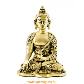 Shakyamuni Buddha réz szobor, matt sárga - 14cm