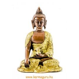 Shakyamuni Buddha réz szobor, arany-bronz - 14cm