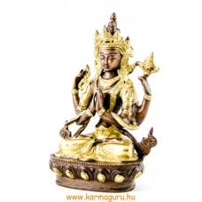 4 karú Csenrézi réz szobor, arany-bronz- 21cm