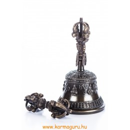 Csengő és vadzsra Buddhákkal, fekete, nagy, prémium minőség