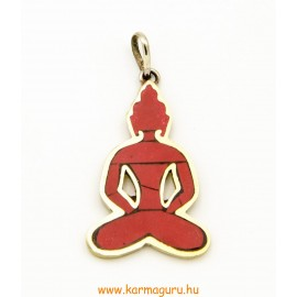 Medál, Buddha alakú, korallal