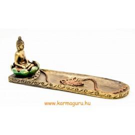Shakyamuni Buddha lótuszban talpas füstölő égető
