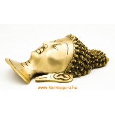 Buddha maszk rézből, matt sárga színű