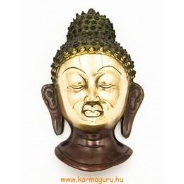 Buddha maszk rézből, vörös-arany színű