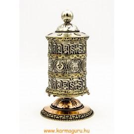 8 szerencsejeles, fémes (ezüst színű) nagy asztali imamalom