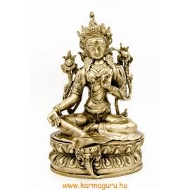 Zöld Tara réz szobor, matt sárga - 31 cm