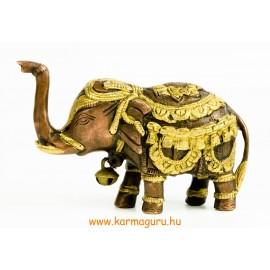 Elefánt réz szobor, arany-bronz- 8 cm