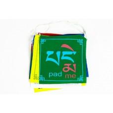 10 lapos pamut imazászló Om Mani Padme Hum mantrával