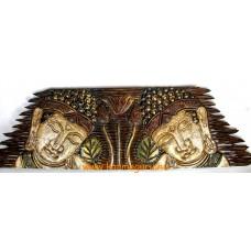Két Buddha fejes hatalmas fa fali dísz - 100 cm