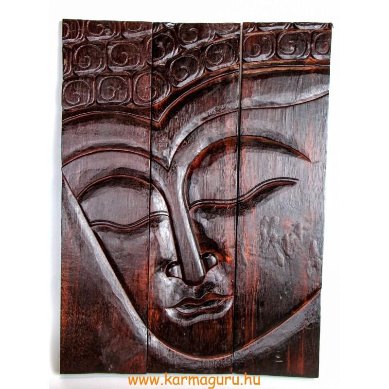 3 részes, Buddha fejes, natúr barna, fa fali dísz - 60x45 cm
