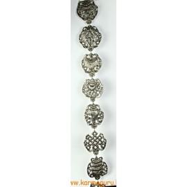 Fém lógó a 8 tibeti szerencsejellel, ezüst